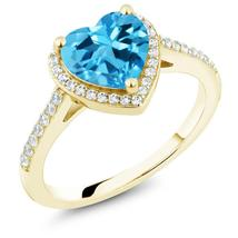 2.21 Ct Heart Shape Blue Topaz 18K Yellow Gold Plated Silver Ring - $115.18
