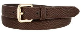 Skinny Women's Snakeskin Embossed Leather Casual Dress Fashion Belt (Brown, S... - $6.92