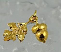 NICE Squirrel favorite food Acorn leaf charm Gold plated 3D - $22.92