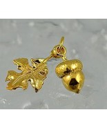 NICE Squirrel favorite food Acorn leaf charm Gold plated 3D - $22.92