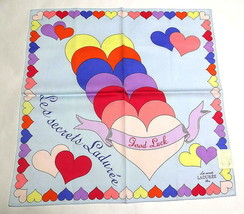 Laduree handkerchief scarf Bandana Pocket square Cotton Blue Heart Auth New - $25.74