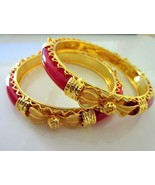 Indian Traditional Bollywood Gold Plated Bridal Red Pola Fashion Bangles - $9.41