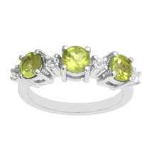 Three Stone Peridot 925 Silver Stackable Eternity Wedding Engagement Ban... - $29.57