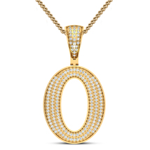 """18k Yellow Gold Plated 925 Silver Round Cut White CZ Initial Letter """"O"""" Pendant - $125.99"""