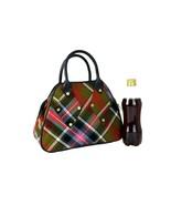 Authentic Vivienne Westwood Check Multicolor Canvas Leather Hand Bag Pur... - $127.71