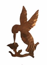 Vintage Handmade Copper Hummingbird Brooch Pin - $18.05