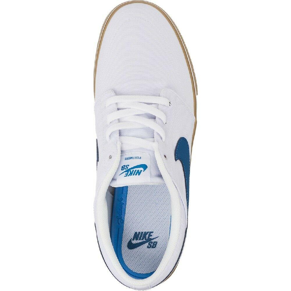 Nike SB Portmore II Solar CNVS Canvas White/Blue Mens Skate Shoes 880268-149 image 5