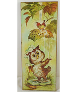 Vintage Coby Bathing Owl Print Mounted On Wood Plaque Picture Hanging Nu... - $14.84