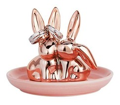 Jojuno Bunny Rabbit Ring Holder Jewelry Dish Pink Ceramic Plate Jewel Di... - ₹1,277.21 INR