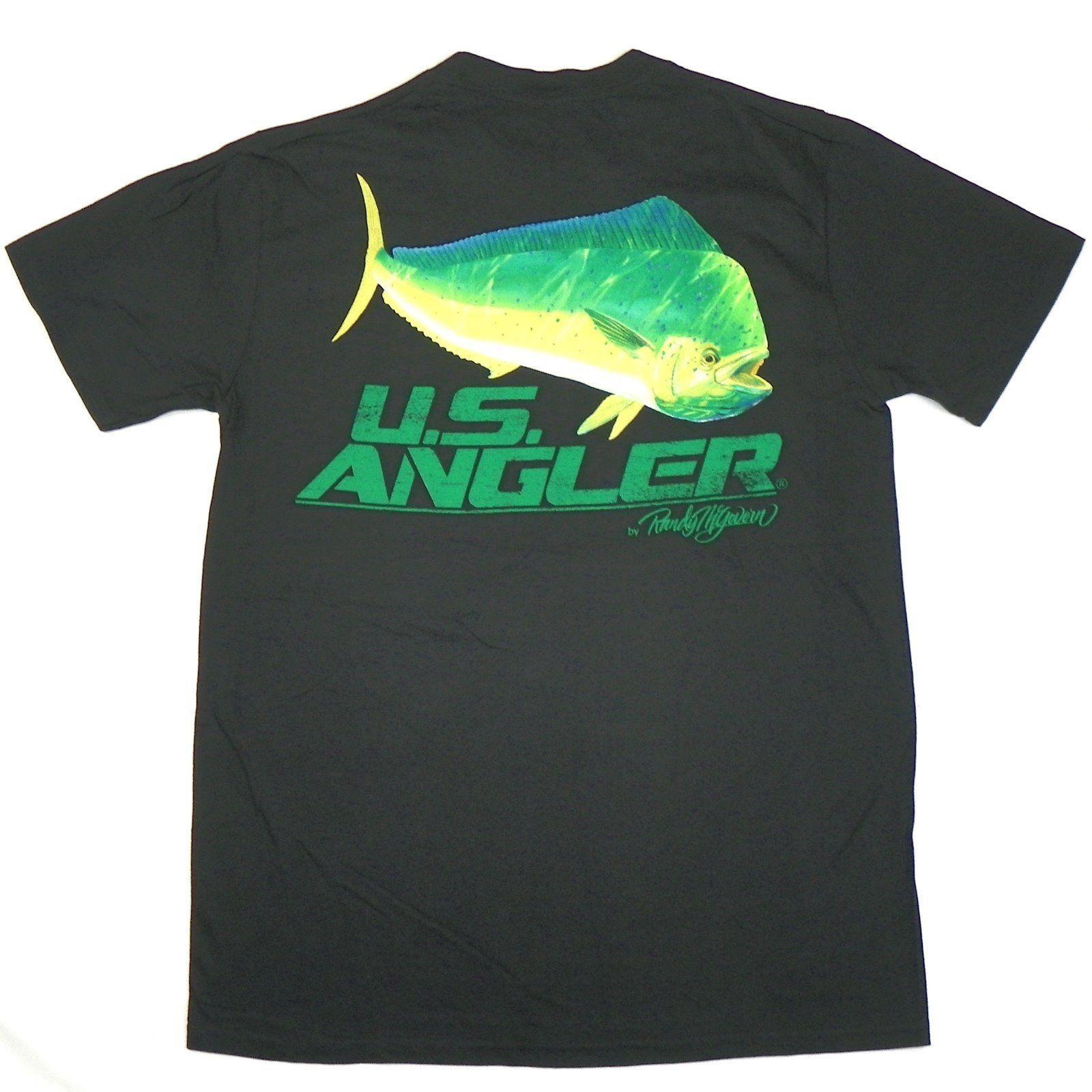 Men's U.S. Angler Shirt Fishing Tee Randy McGovern T-Shirt Green Fish Black