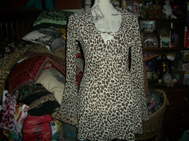 Victoria's Secret Sassy Leopard Print Semi Sheer Ruffled Blouse Size Xs - $14.85