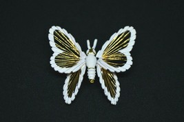 Large MONET Gold Toned Open Wired White Enamel Design Butterfly Brooch Pin - $29.70