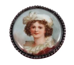 Porcelain & Sterling Silver Brooch Pin Self Portrait Vigee Le Brun / LeBrun - $127.71