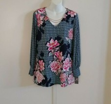 JM Collection Long Sleeve W/Necklace Peony Primavera Floral Multicolor T... - $36.26