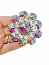 """2.5"""" Diameter Large AB Acrylic Crystals Cluster Flower Statement Brooch Pin  - $18.05"""