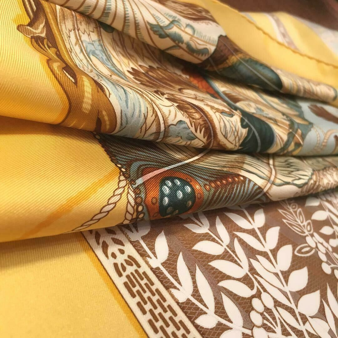 Hermes Carre 90 Scarf Stole BRIDES de CHARME by Julia Abadie Yellow Silk Rare