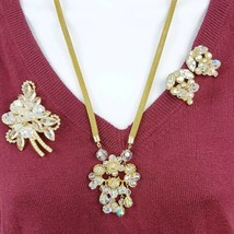 Juliana D&E Crystal Rhinestone Clear AB Set Necklace Brooch and Earrings - $113.85
