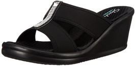 Skechers Cali Women's Rumblers 2 Strap Slide Wedge Sandal,Black - $63.00