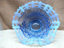 Fenton blue opalescent basket weave bowl circa 1930s. - $14.85