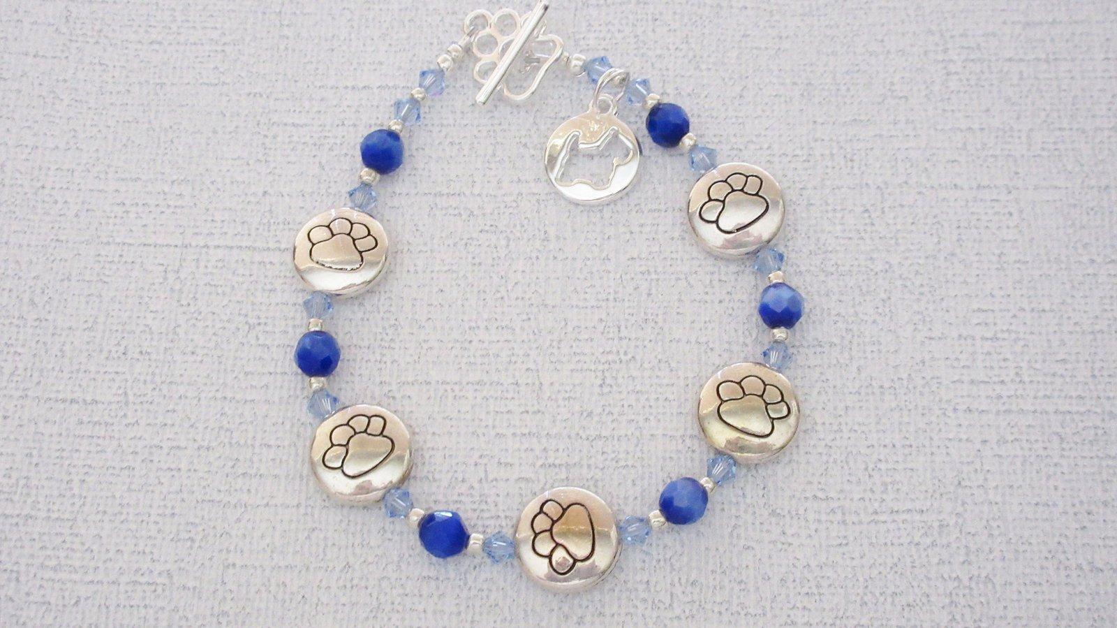 Paw Print Silver Dog Charm Bracelets Sapphire Blue Glass Swarovski Handmade