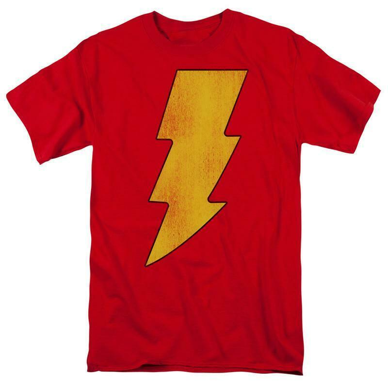 Shazam lightning bolt t shirt retro dc comic cartoon superfriends cotton dco268