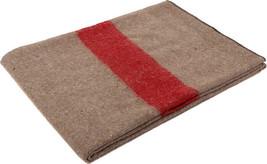 Khaki Swiss European Army Military Red Stripe Type Wool Blanket - $25.99