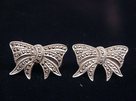 Sterling Silver Earrings Marcasite Holiday Bow Screw  Back Style - $19.79