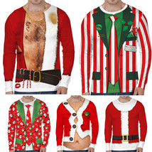 Men Christmas 3D Novelty Sweatshirt Ugly Long Sleeve T-Shirt Xmas Santa ... - $38.50