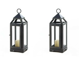 """2 Contemporary Candle Lanterns Slate Dark Gray w/ Clear Glass Small 10"""" ... - $34.60"""