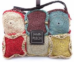 JAMIN PUECH Bag Clutch Raffia Multi-Color Studs Striped Lining Change Purse - $118.75