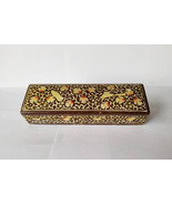 Antique Persian Lacquered Qalamdan (Pen box) Handpainted with Flowers & ... - $554.58