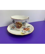 Queen Anne Bone China Yellow Blue Daisies Ridgway 8304 Floral Teacup Saucer - $13.85