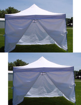 Two (2) white 10 x 10ft 4 leg 1 piece fabric top yard shade canopies wit... - $249.00