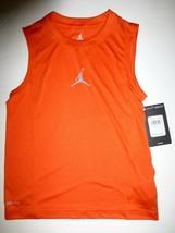 c37932f8fdb3e3 Boys Nike Air Jordan Jumpman Dri Fit Orange Sleeveless Tank Top Shirt Ne.