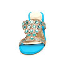 Beaded 32 Open Big Flops size 43 T Summer Flip Heels Shoes Dress Rhinestone Low 8875Zq