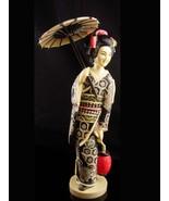 Vintage large Geisha statue - carved asian figrine - parasol - Oriental ... - $95.00