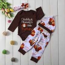 NWT Thanksgiving 'Daddys Mommys little Turkey' Baby Boys Girls Outfit Set - $10.99