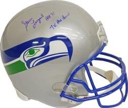 Steve Largent signed Seattle Seahawks Full Size TB Replica Helmet HOF 95 & 7 X P - $197.95