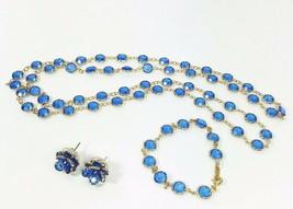 Swarovski Crystal Royal Blue Bezels Gold Chain Necklace + Bracelet + Earrings - $97.00