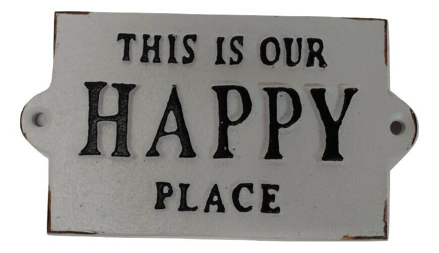 Primary image for This Is Our Happy Place Vintage Aged Black White CAST IRON Sign Plaque
