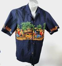 Royal Creations Hawaiian Mens Shirt Size L Blue Cars Surboards SS Aloha - $100.00