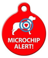 Microchip Alert Custom Dog Tag | Designer Art Pet ID Tag | Microchip Dog... - $8.99
