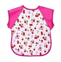 Summer Cotton Waterproof Short Sleeved Bib Baby Feeding Smock CHERRY, 1-3 Years