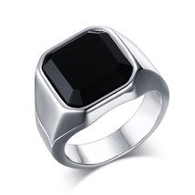High Quality Black Big Stone Men's Ring High Polished Stainless Steel Me... - $17.70