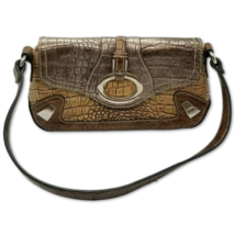 "Bronze Makeup Bag Shoulder Purse Embossed Faux Alligator Leather Small 10"" - $12.19"