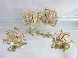 Vintage Pegasus Coro Rhinestone Fan Pin Brooch Earrings Signed Des Pat Pend - $62.99