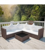 vidaXL Garden Furniture Set Wicker Poly Rattan Brown Outdoor Sofa Lounge... - £364.52 GBP