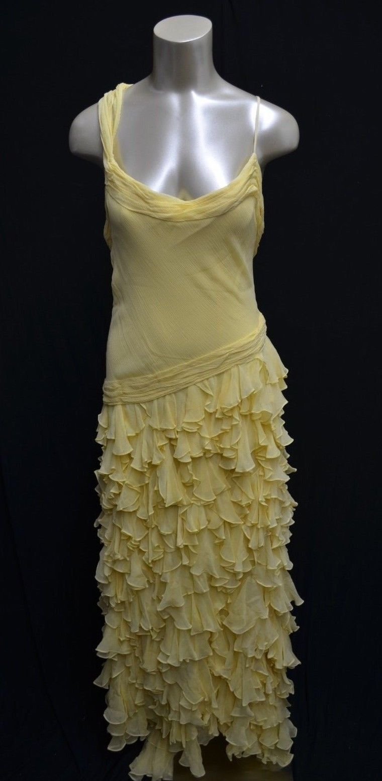 NEW BCBG Max Azaria ATELIER Dress maxi Ruffle GOWN Yellow *6 (#A30)