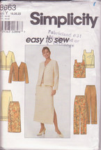Simplicity 8663 Easy Sew, Jacket V Neck, Pullover Top Pants Skirt Sewing... - $11.00