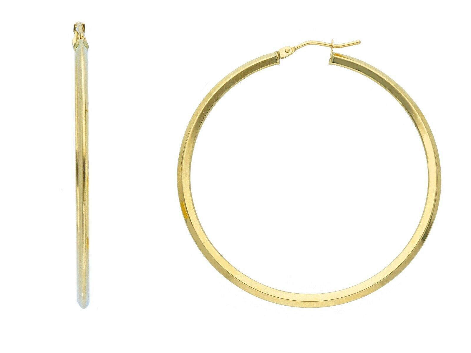 18K YELLOW GOLD CIRCLE EARRINGS DIAMETER 40 MM WITH RHOMBUS TUBE, MADE IN ITALY